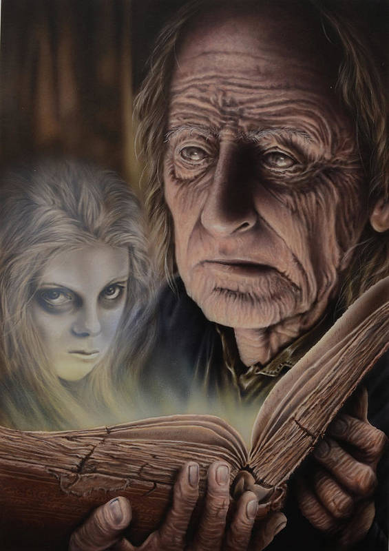 Airbrush Poster featuring the painting Ghost In The Book by Robert Haasdijk