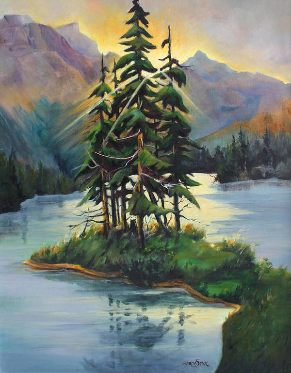 Landscape Poster featuring the painting Ghost Island Near Jasper by Marta Styk