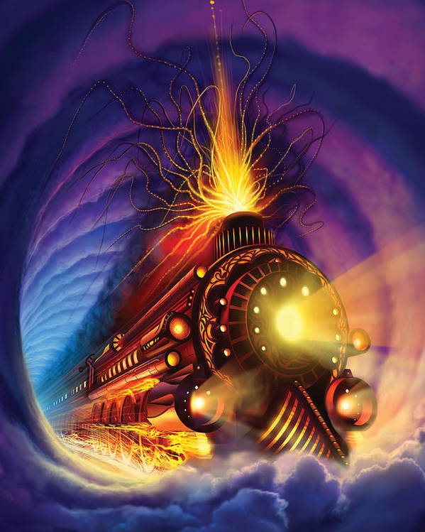 Ghost Train Poster featuring the painting Ghost Train by Philip Straub
