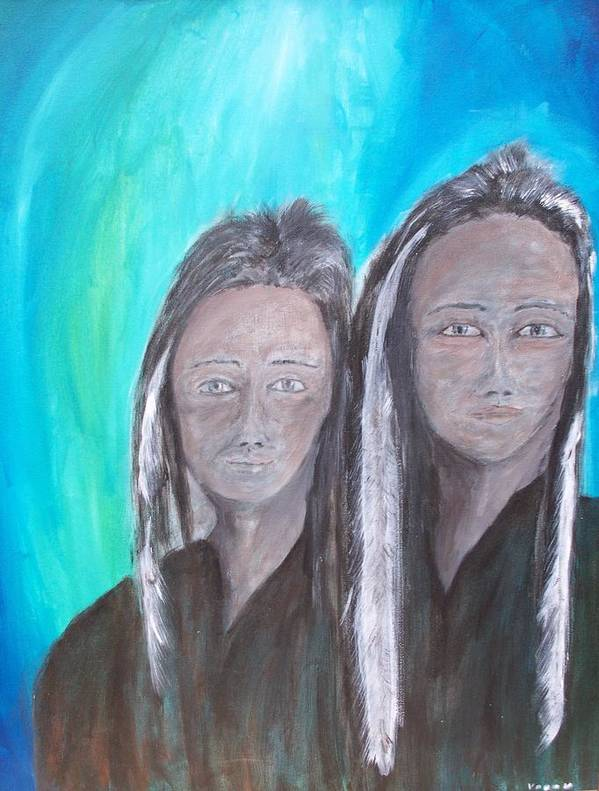 Native American Poster featuring the painting Ghost Twins by Larry Verch