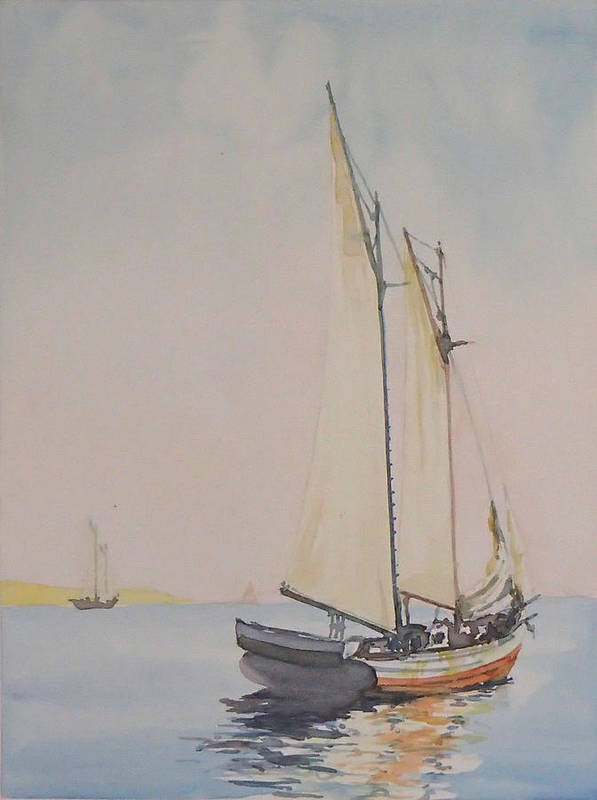 Sailing Poster featuring the painting Ghosting Up by Philip Fleischer