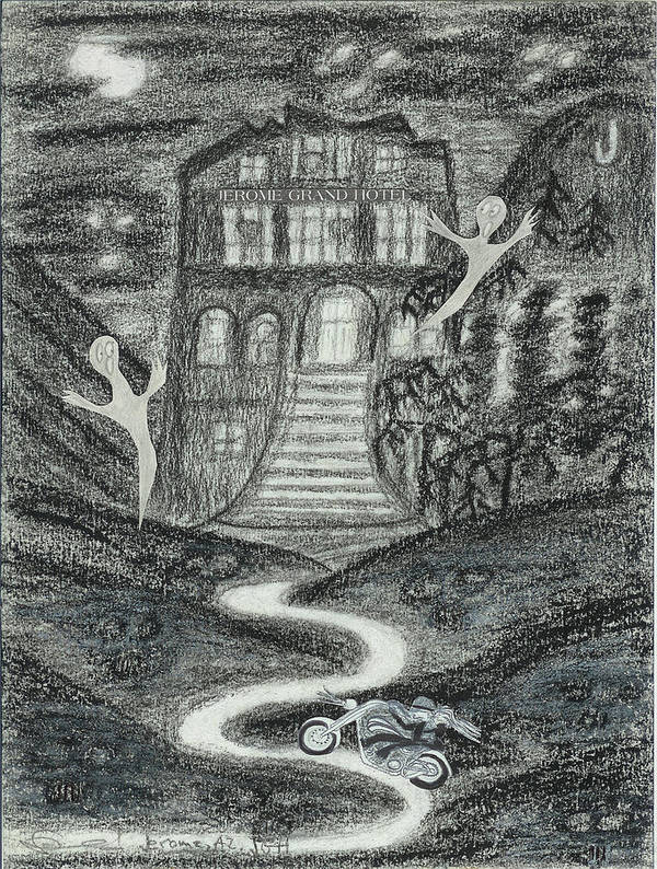 Ghosts Poster featuring the drawing Ghosts Night At The Jerome Grand Hotel by Ingrid Szabo