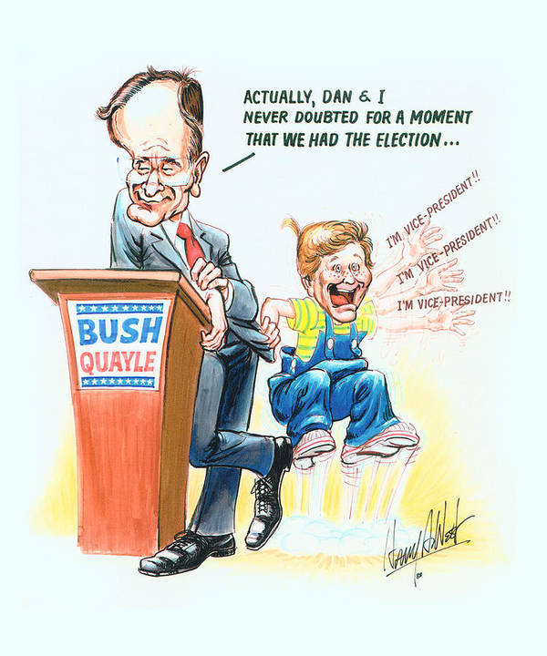 George Hw Bush Poster featuring the drawing Ghwb Election by Harry West