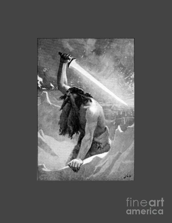 Witchcraft Poster featuring the digital art Giant With A Flaming Sword by Frederick Holiday
