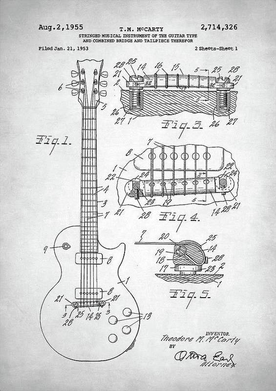 Gibson Les Paul Electric Guitar Patent Poster By Zapista Zapista