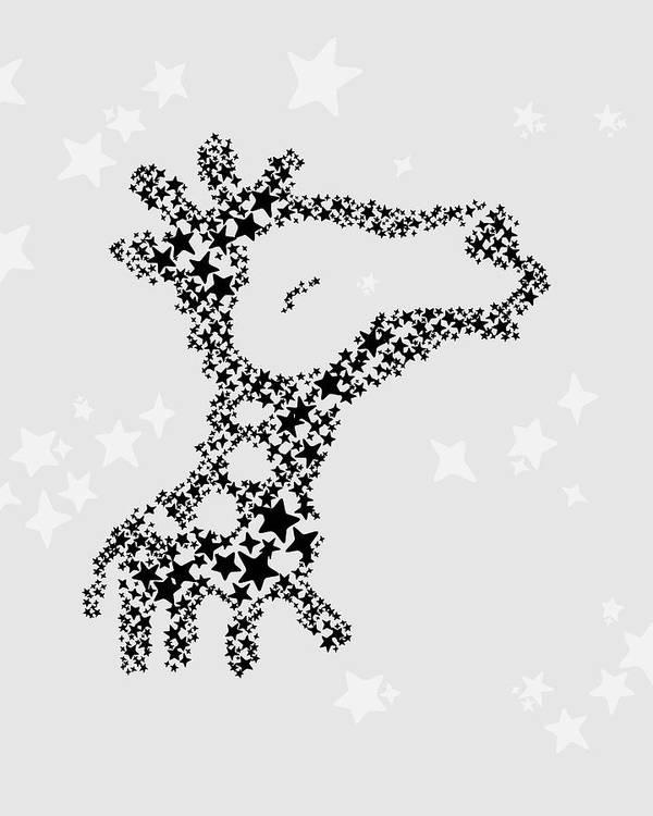 Animal Poster featuring the digital art Giraffe Black Star by Hieu Tran