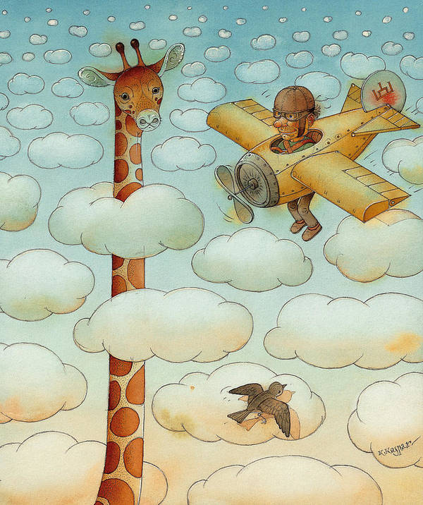 Airplane Sky Flying Giraffe Cloud Pilot Patriotizm Poster featuring the painting Giraffe by Kestutis Kasparavicius