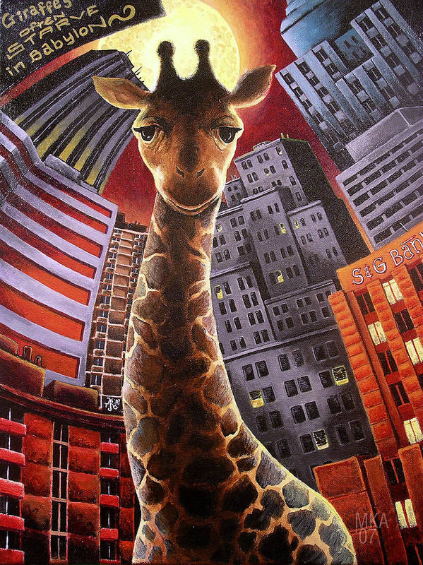 Giraffe City Babylon Surreal Poster featuring the painting Giraffes Often Starve In Babylon by Marcus Anderson