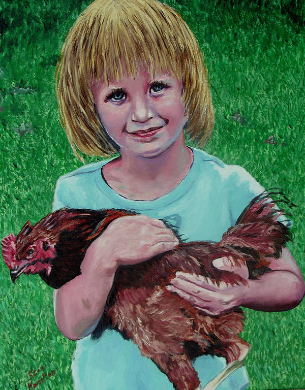 Portrait Poster featuring the painting Girl and Chicken by Stan Hamilton