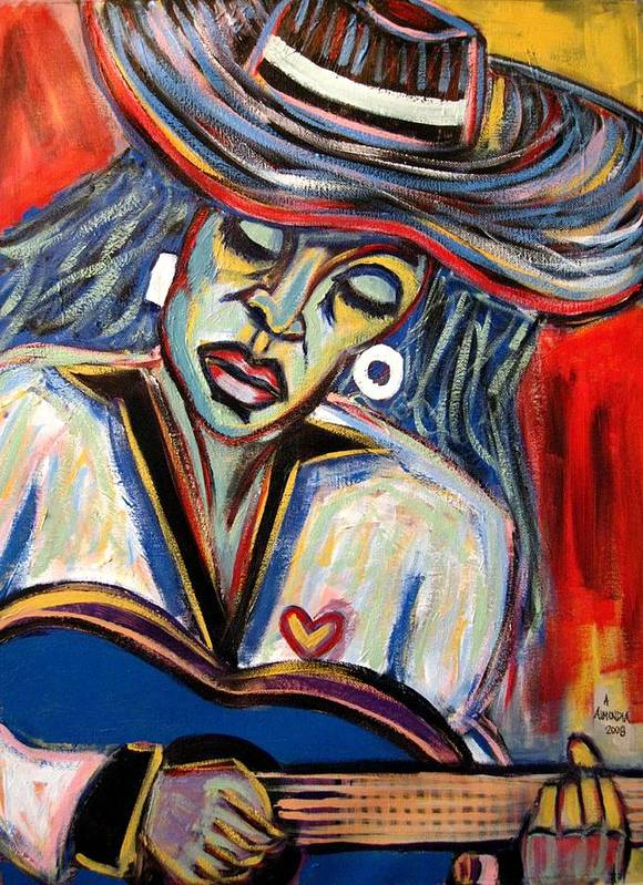 Woman Poster featuring the painting Girl And Her Guitar by Albert Almondia
