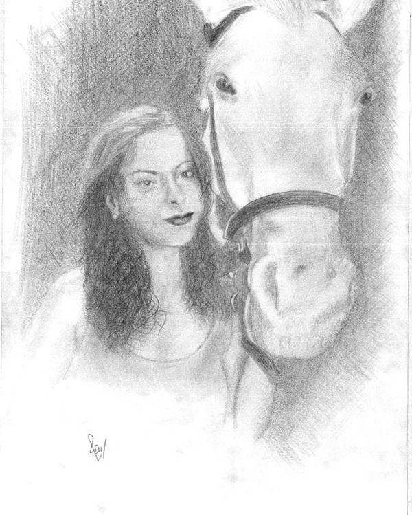 Horse Poster featuring the drawing Girl And Horse by Reza Naqvi