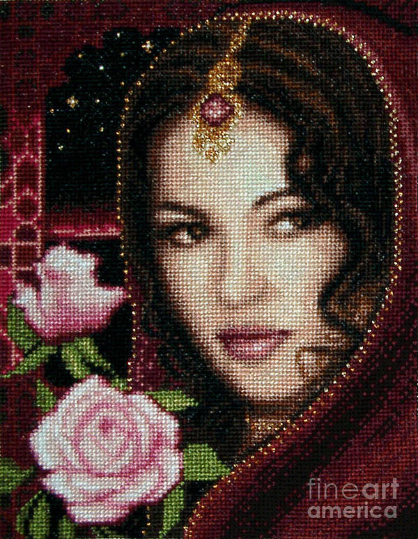 Girl From Alhambra Needlework Design Gobelin Metallic Shades Poster featuring the tapestry - textile Girl From Alhambra by Stoyanka Ivanova