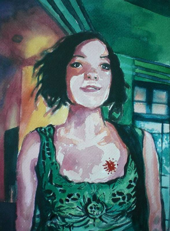 Poster featuring the painting Girl In Green by Aleksandra Buha