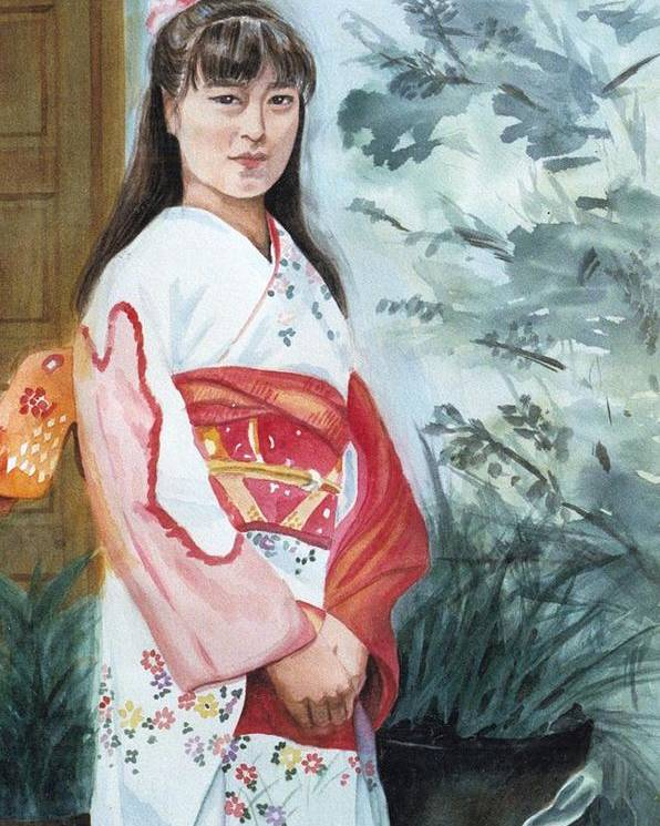 Japanese Girl In Kimono Poster featuring the painting Girl In Kimono by Judy Swerlick