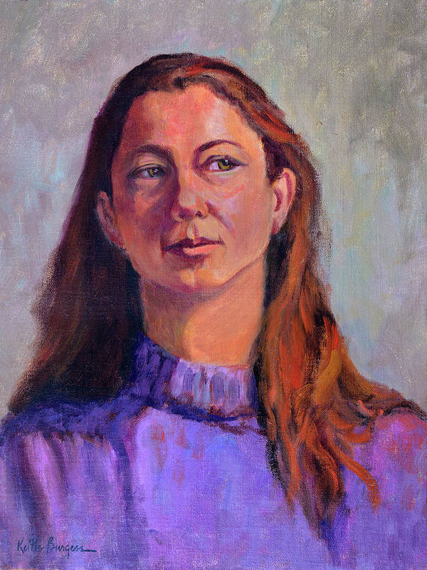 Portrait Poster featuring the painting Girl In Purple by Keith Burgess