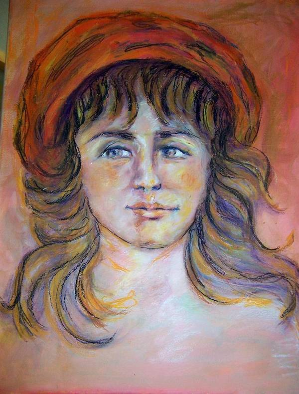 Portrait Of A Beautiful Young French Girl In A Red Beret... Poster featuring the painting Girl In Red Beret by Suzanne Reynolds