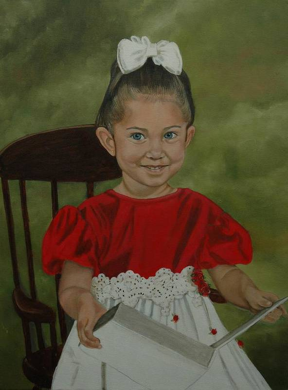 Girl Poster featuring the painting Girl Reading Book by Tresa Crain