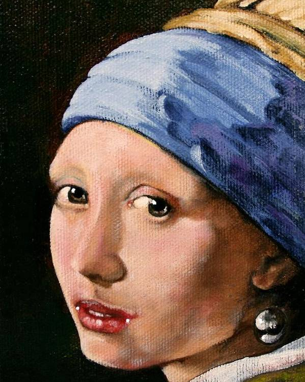 Portrait Poster featuring the painting Girl With A Pearl Earring A Reproduction Of Vermeer by Joan Garcia