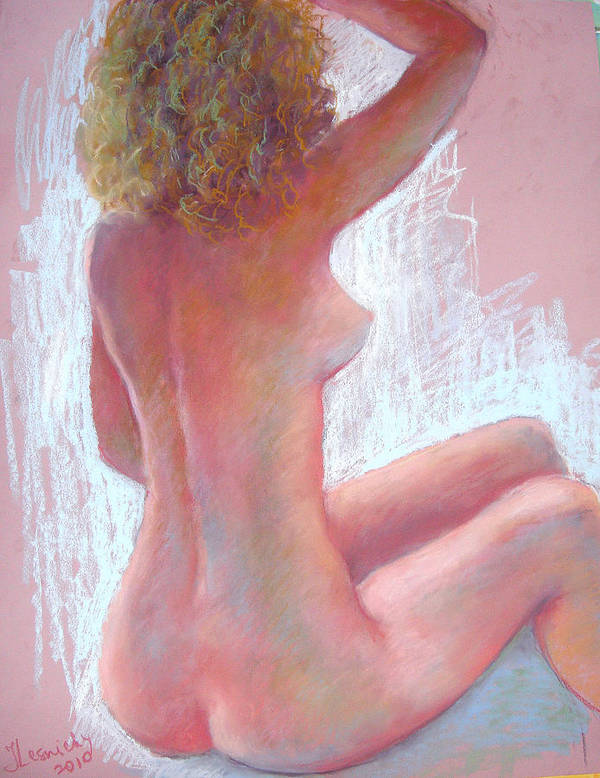 Nude Poster featuring the painting Girl With Green Hair by Julia Lesnichy