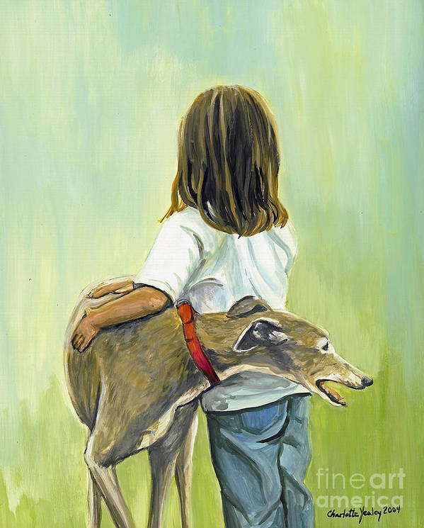 Greyhound Poster featuring the painting Girl With Greyhound by Charlotte Yealey