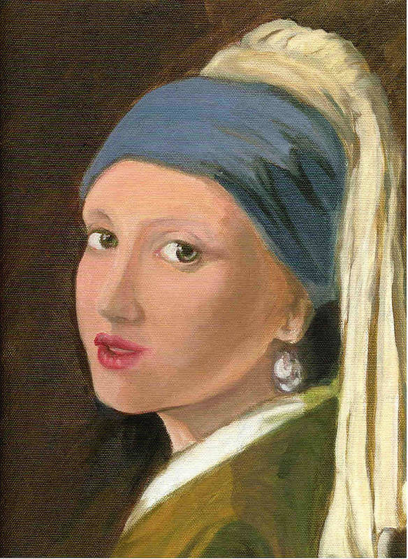 Vermeer's Famous Painting Reproduced Poster featuring the painting Girl With Pearl Earring Of Vermeer by Asha Sudhaker Shenoy