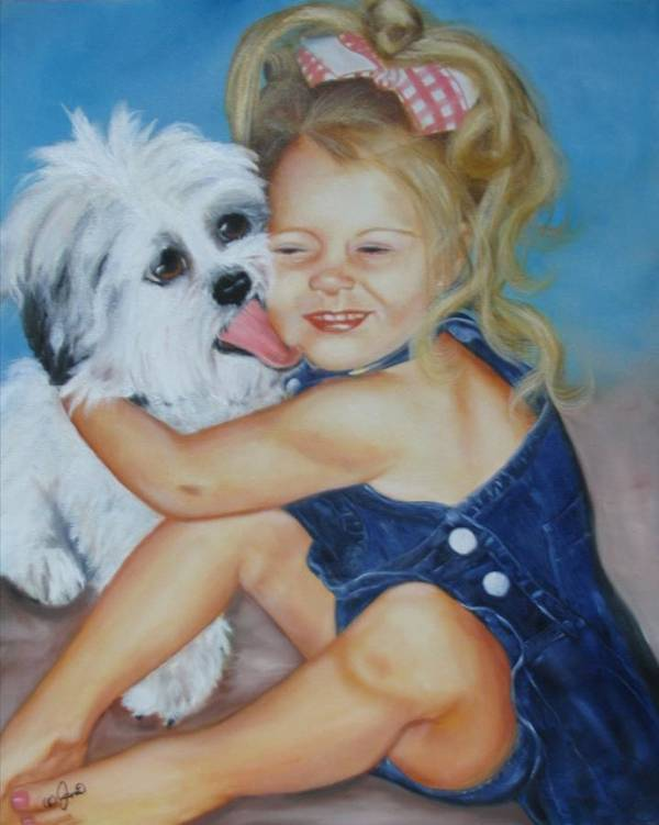 Child Poster featuring the painting Girl With Puppy by Joni McPherson