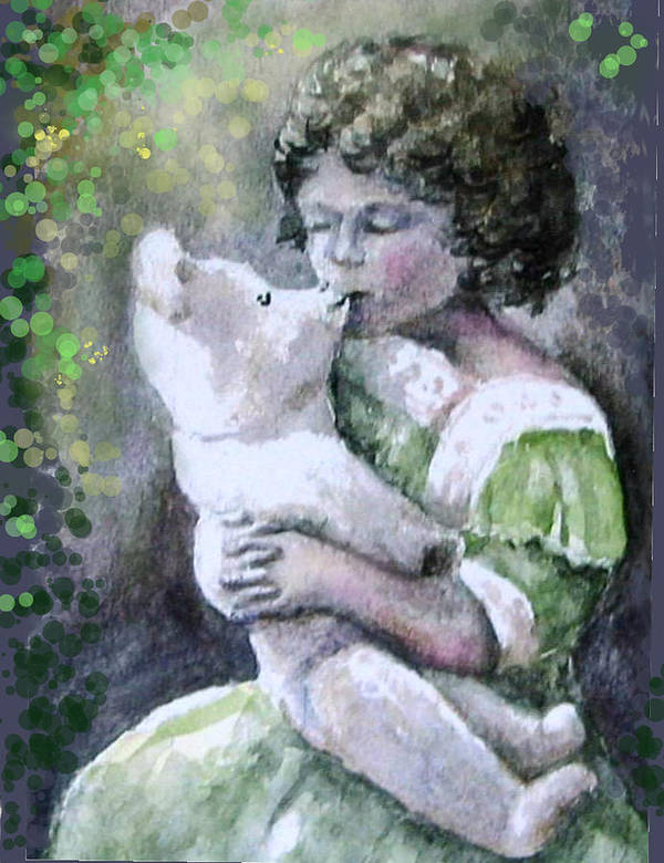 Girl Poster featuring the painting Girtl and Teddy Bear by Natalja Picugina