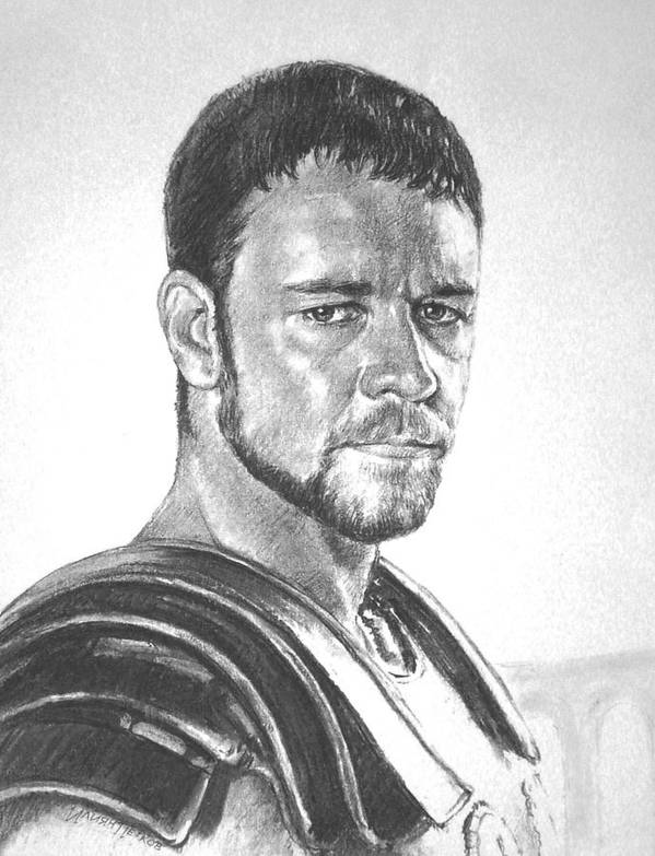 Portraits Poster featuring the drawing Gladiator by Iliyan Bozhanov