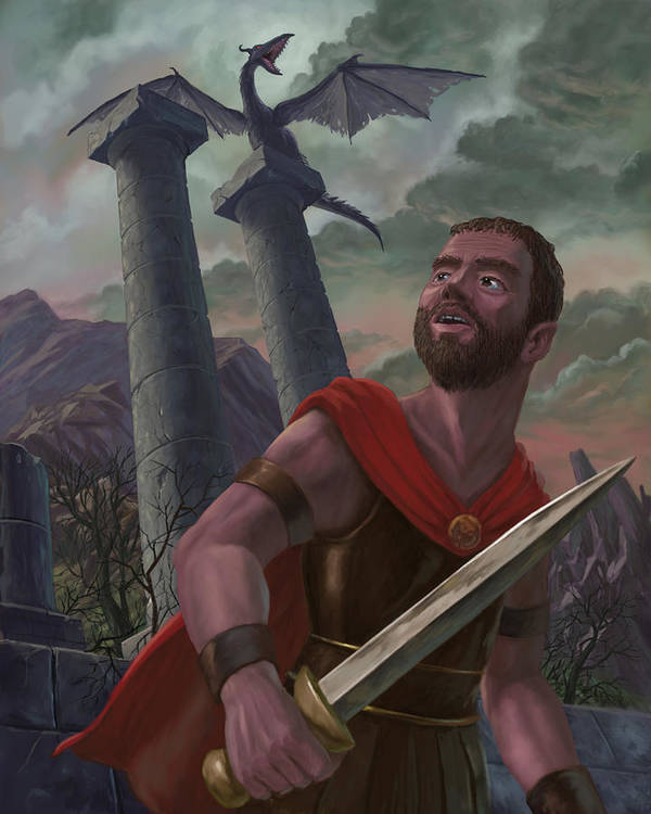 Creature Poster featuring the painting Gladiator Warrior With Monster On Pillar by Martin Davey
