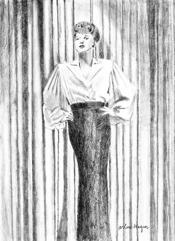 Woman Poster featuring the drawing Glamour In The 30s by Arline Wagner