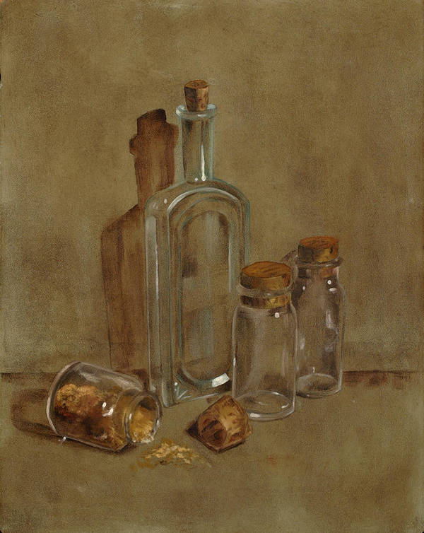 Still Life Poster featuring the painting Glass Bottles by Betty Stevens