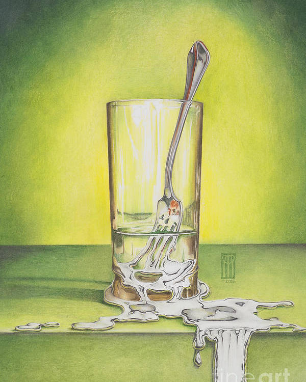 Bizarre Poster featuring the painting Glass With Melting Fork by Melissa A Benson