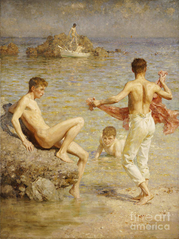 Male; Nude; Bather; Bathers; Sea; Seashore; Shore; Playing; Playful; Bathing; Rowing; Boat; Summer; Leisure; Relaxing; Relaxation; Boys; Youth; Youths; Henry Scott Tuke Poster featuring the painting Gleaming Waters by Henry Scott Tuke
