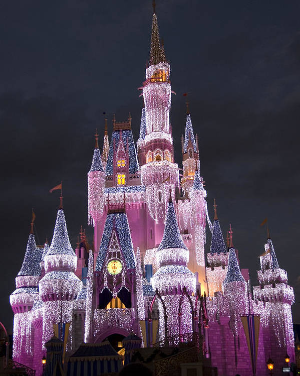 Walt Disney World Poster featuring the photograph Glittering Cinderella Castle by Charles Ridgway