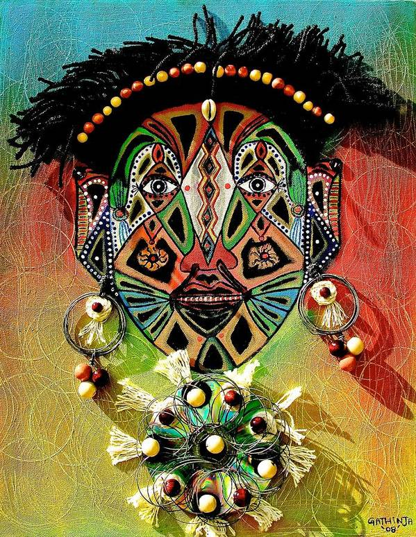 True African Art Poster featuring the painting Glocal Child by Gathinja