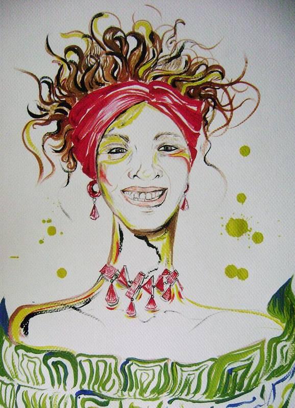 Gloria Gadea Poster featuring the painting Gloria De Mi Vida by David Alvarado
