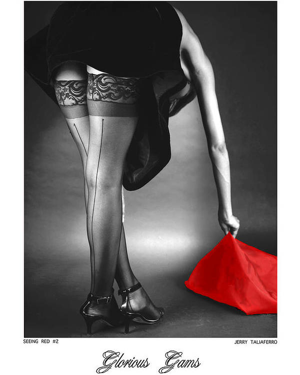 Figure Poster featuring the photograph Glorious Gams - Seeing Red by Jerry Taliaferro