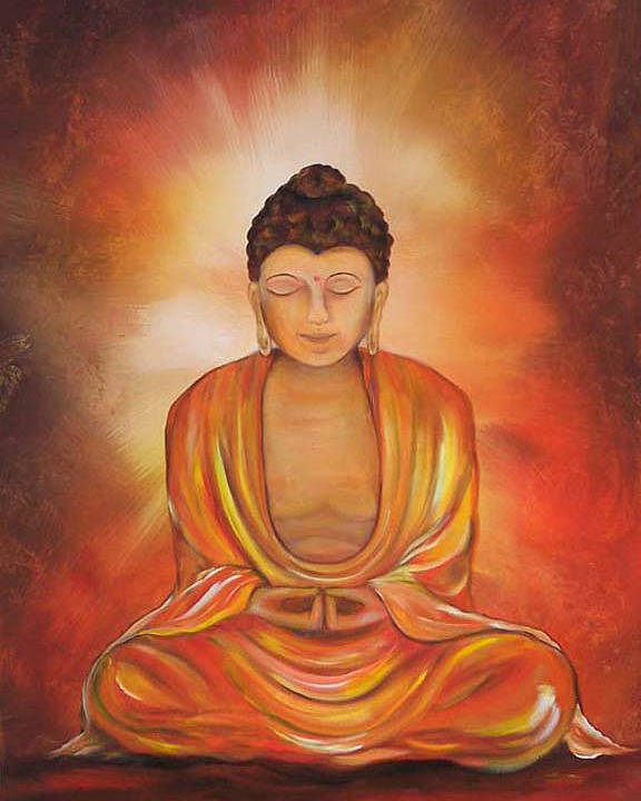 Buddha Poster featuring the painting Glowing Buddha by Sundara Fawn