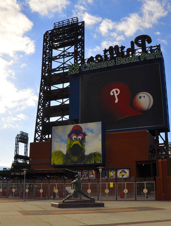 Sports Poster featuring the photograph Go Phillies - Citizens Bank Park - Left Field Gate by Bill Cannon