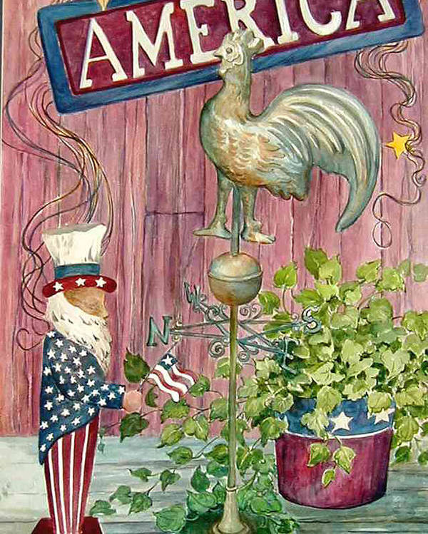 Americana;uncle Sam;america;copper Rooster;ivy;stars;barn Siding; Weathervane; Poster featuring the painting God Bless America by Lois Mountz