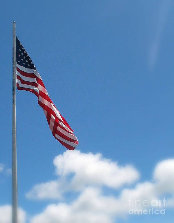 Flag Poster featuring the photograph God Bless America by Mg Blackstock