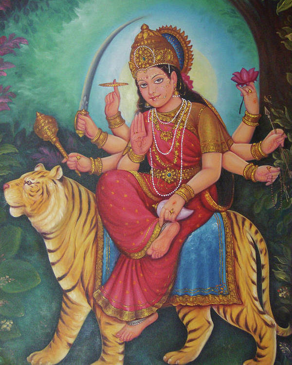 Goddess Durga Ambe Maa Aadishakti Painting Goddess Of War Online Artwork Oil Painting On Canvas Poster By Jagannath