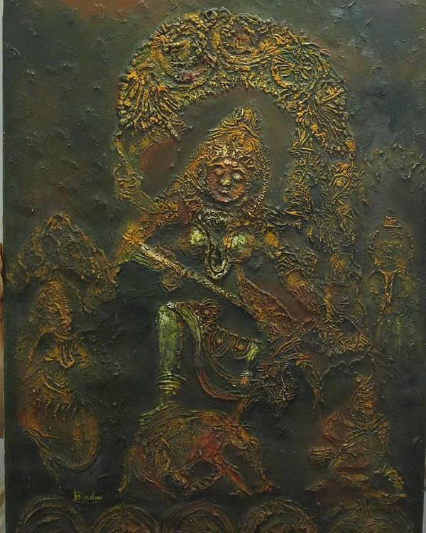 Goddess Poster featuring the painting Goddess Kali Killing Demon by Bindu Bajaj