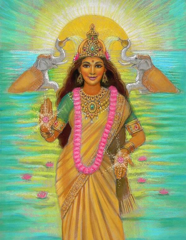 Lakshmi Poster featuring the painting Goddess Lakshmi by Sue Halstenberg