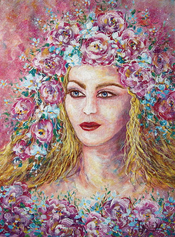 Goddess Of Good Fortune Poster featuring the painting Goddess Of Good Fortune by Natalie Holland