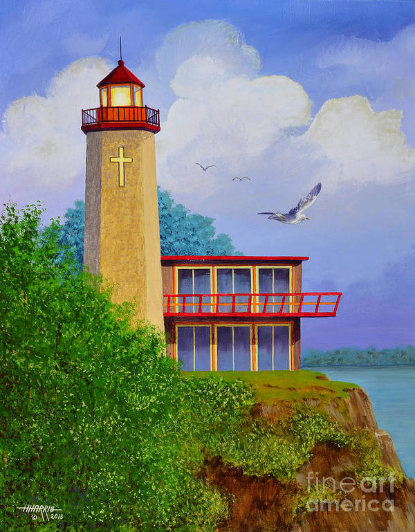 Lighthouse Poster featuring the painting God's Lampstand THE DINKEL ISLAND SERIES by Hugh Harris