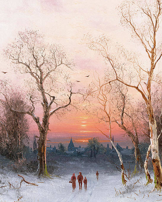 Sunset; Ice Poster featuring the painting Going Home by Nils Hans Christiansen