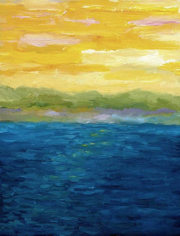 Lake Poster featuring the painting Gold And Pink Sunset by Michelle Calkins