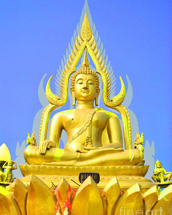 Gold Poster featuring the sculpture Gold Buddha Statue by Somchai Suppalertporn