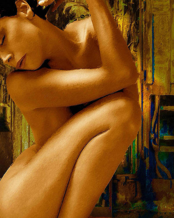 Woman Poster featuring the painting Gold Woman Nude Crop 1 by Tony Rubino